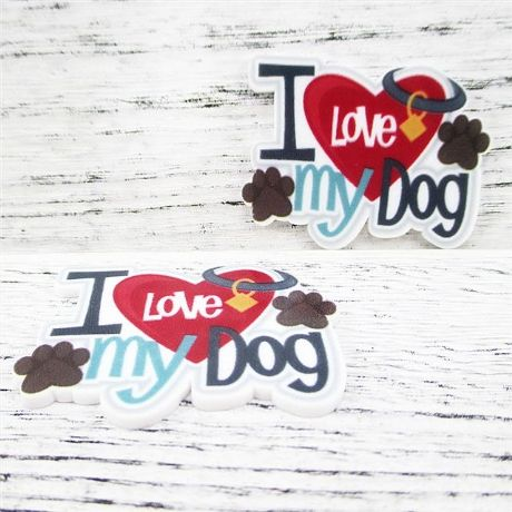 5 x 45MM I LOVE MY DOG LASER CUT FLAT BACK HEADBANDS BABY HAIR BOWS CARD MAKING